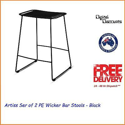 Artiss Ser of 2 PE Wicker Bar Stools - Black