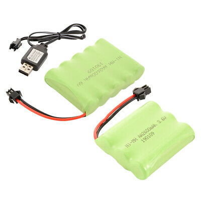NI-MH 3.6V/6V 2600mAh Rechargeable AA Cell Battery Pack + USB Cable for RC Toys