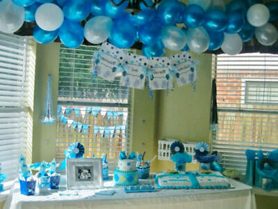 Baby Shower Blue Theme Foil & Latex Balloons New Born Boy Mum to be Sash Baloons