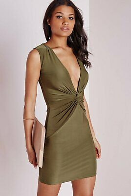 b5627d70aa107 MISSGUIDED NATURAL SLINKY Knot Front Plunge Khaki Dress Size 12 ...