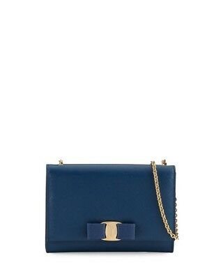 a78bb357dc61 NWT New  750 Salvatore Ferragamo Miss Vara Bow Mini Crossbody Bag  Pacific Blue