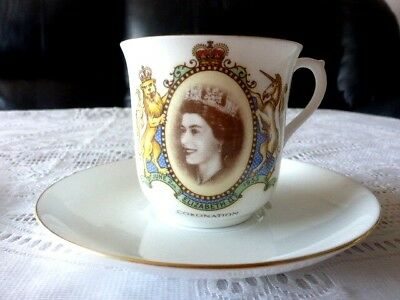 Queen Elizabeth Ii Coronation 1953 Cup + Saucer Shelley England Free Post Aus