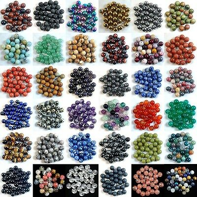 DIY Making Natural Stone Gemstone Round Spacer Loose Beads 4MM 6MM 8MM 10MM