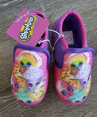 BNWT Size 7 Shopkins Girls Casual Novelty Pink Purple Slipper Shoes Gift