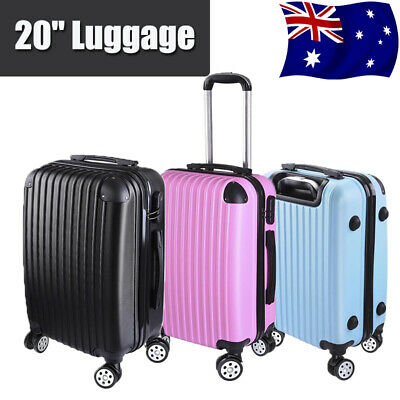 "20"" Cabin Luggage Suitcase Hard Shell Travel Case Carry On Bag Trolley 3 Colour"