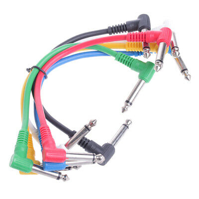 6Pcs Colorful Angled Plug Audio Leads Patch Cables For Guitar Pedal Effect New!