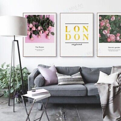 Pink Rose Flower London Quotes Poster Prints Home Decor Wall Art Canvas Painting