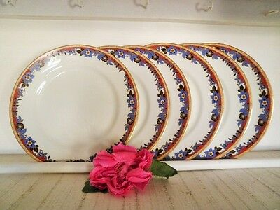 Antique Entree Plates X6 Grafton Ware 1900-1913 England Blue Flower Red Gold