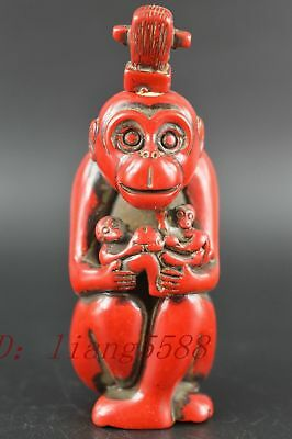 Fine Chinese Decorated Coral Carve Lucky Lovely Lifelike Monkey Snuff Bottle