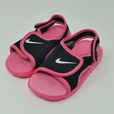 8549d696c Nike Sunray Adjust 4 (Toddler Girl s Size 7C) Strap-On Sandals Black Pink