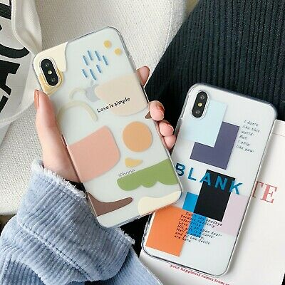 Korean Style Creative Geometric Transparent Case For iPhone XS XR 8 7 11 Pro Max