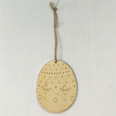 Wooden Easter Eggs Hanging Pendant Wall Door Windows Decoration Signs Home 6A