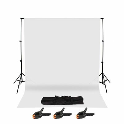 Photography Studio Background Support Stand & White Screen Backdrop Kit & Bag CA
