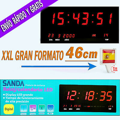 Reloj LED de Pared Digital Extra Grande 46x22cm Temperatura Calendario Oficina R