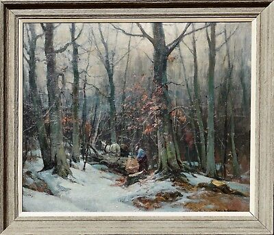 """Emile Albert Gruppe """"Woodcutters"""" Oil Painting 36X30. Circa 1950"""