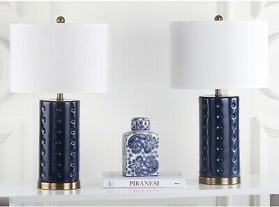 Set Of 2 Navy Blue Ceramic Table Lamps Bronze Accents White