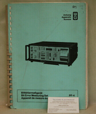 Wandel & Goltermann PF-4 Bit Error Measuring Set Appendix