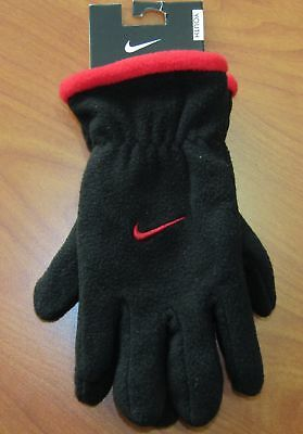 New Nike Boys Youth Black And Red Gloves