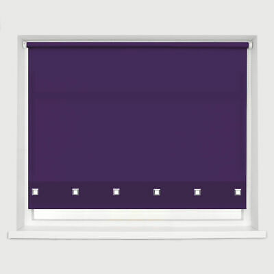 Classic New Square Eyelet Roller Blind Drop 160cm Window Blinds Trimmable Purple