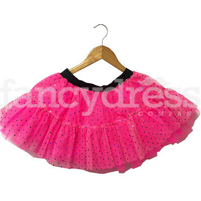 Girls Ladies Hot Pink Neon Sequin Tutu Skirt Childs Ballet Party Colour Fun Run