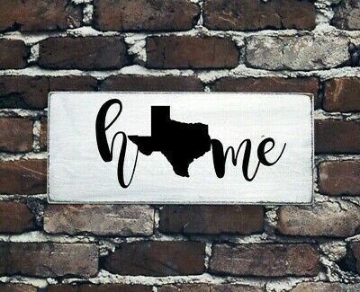 HOME - TEXAS - Rustic Wood Sign Distressed White Entry Living Room Room Decor