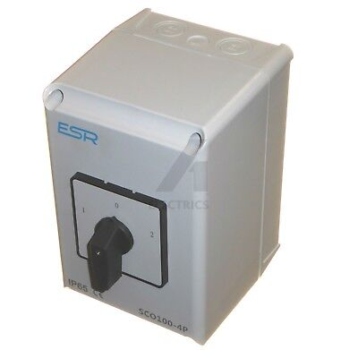 100 Amp 4 Pole Changeover Switch 3 Position Centre Off 3 Phase 400V Weatherproof