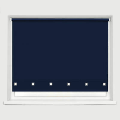 Classic Square Eyelet Roller Blind Drop 160cm Window Blinds Trimmable Navy Blue