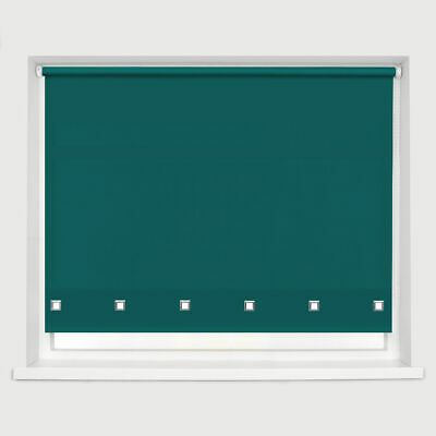 Classic Square Eyelet Roller Blind Drop 160cm Window Blinds Trimmable Teal Blue