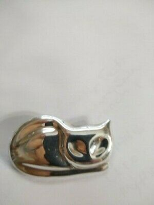 Vintage Mexican Abstract Puffy Sterling Silver Sleeping Cat Pin Brooch