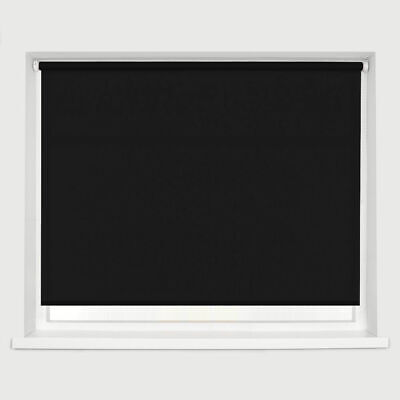 Plain Fabric Roller Blind Drop 160cm Daylight Blinds Trimmable Black Many Sizes