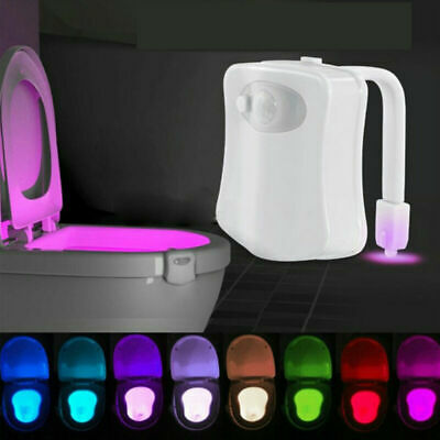 8 Color Toilet Bowl Light LED Motion Activated Sensor Bathroom Illumibowl Seat