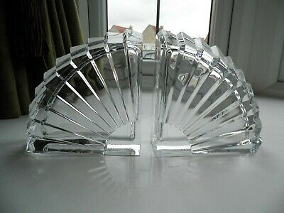 Pair of Heavy Crystal Glass Bookends