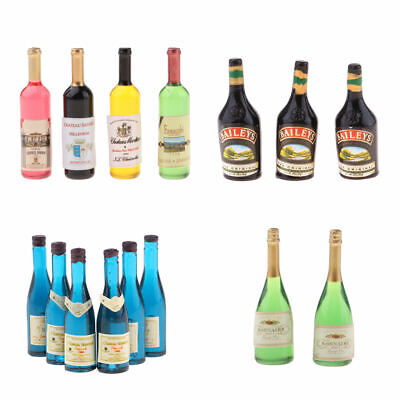 Pack of Dollhouse Miniature Wine Bottles Champagne Drink Bottles 1/12 Scale
