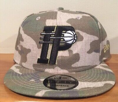 huge selection of c14b0 1ecbe Indiana Pacers New Era 9Fifty Camo Camouflage Metallic Gold Snapback Hat Cap