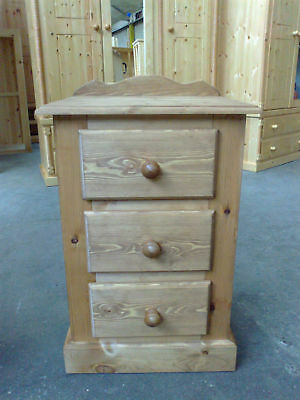 Handmade Olde Antique Wax Pine Winchester 3 Dwr Bedside Solid Pine No Flat Packs