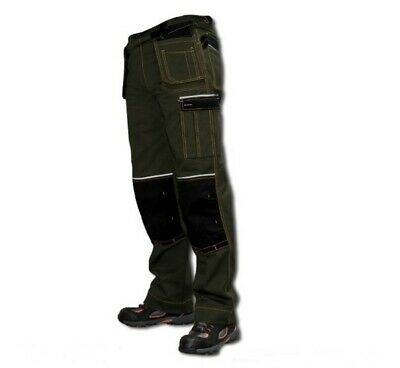 Work Trousers Mens Cargo Combat Style Heavy Duty Knee Pads Pockets [MOTR]