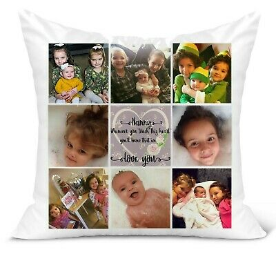 Personalised Photo Scatter Cushion, 8 Photo Collage, Nanny/Mum/ Touch this heart
