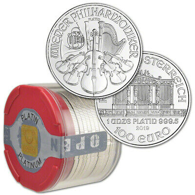 2019 Austria Platinum Philharmonic 1 oz 100 Euro - 1 Roll 10 BU Coins in Mint T
