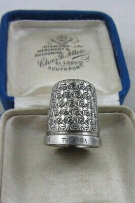 Antique English Silver Thimble HG&S Sterling Silver 'The Spa' size 16