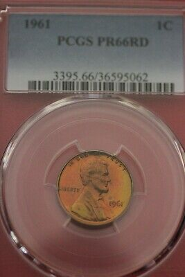 TONED 1961 PR 66 Proof RED Lincoln Memorial Cent PCGS Certified Graded  OC E615