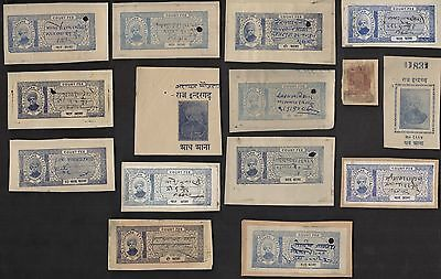 15 INDERGARH (INDIAN STATE) All Different Stamps (c80)