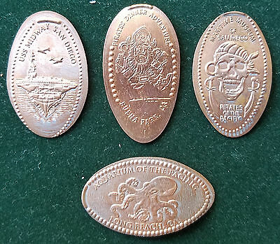 Lot Of 4 Elongated Coins Cents Tokens Token California Boat Pirats Ship Octopus
