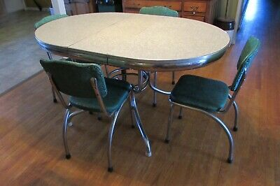 Vintage 1960's Retro Chrome Trimmed Green and Gray Oval Table and 4 Chairs #1000