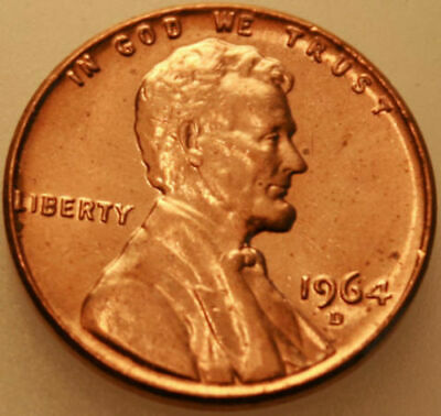1964-D Lincoln Memorial Cent Uncirculated BU Red Penny Nice No Problem Coin