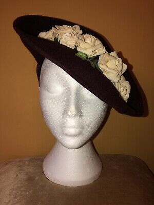 1940s Style Burgundy Hat With Cream Flowers