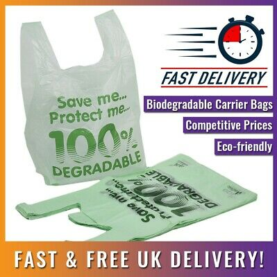 "400 Pcs Large Light Green Biodegradable Carrier Bag - 11"" x 17"" x 21"" Shopping"