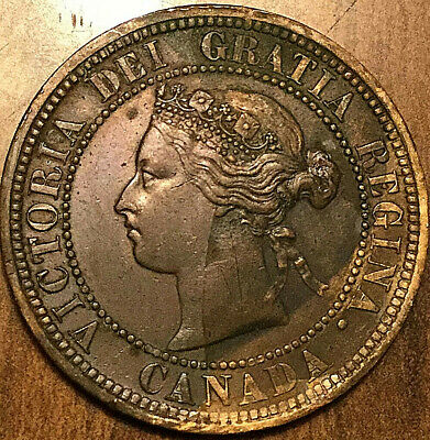 1876H CANADA LARGE CENT LARGE 1 CENT PENNY - Excellent example!