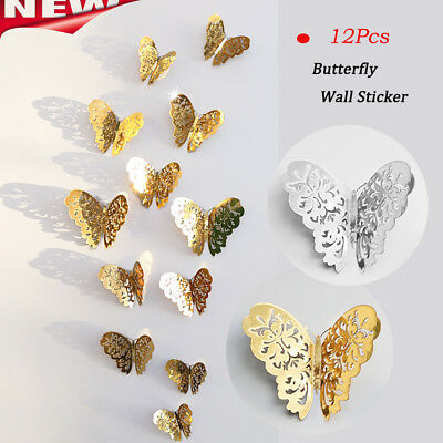 12pcs Paper Butterfly Wall Stickers Hollow Butterfly Decor Home Decal DIY B5W9