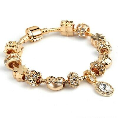 Women' Gold Plated Love&Luck Crystal Charm Bracelet Fashion Gifts Jewelry