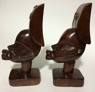 Pair (2) African Tribal Man/Woman Carved Wood Bookends Statues